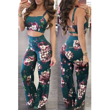 Multi Polyester Pants Print Square Sleeveless Sexy Two Pieces