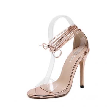 Стильный точечный подглядывающий ботинок из кружевней шпильки Super High Heel Champagne PU Босоножки на лодыжке