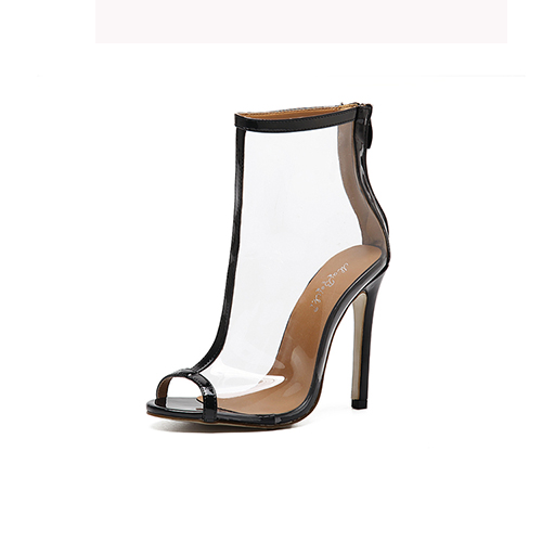 Estiloso Pointed Peep Toe See-Through Estilete Super Alto Talón Negro PU Sandalias