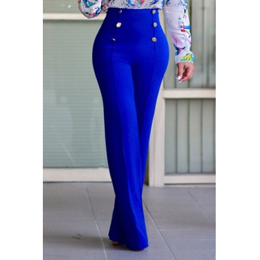Stylish High Waist Double-breasted Design Blue Polyester Pants