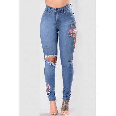Стильная высокая талия Сломанные дыры Blue Denim Jeans