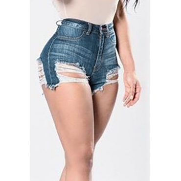 Sexy alta cintura Hollow-out Dark Blue Denim Skinny Shorts