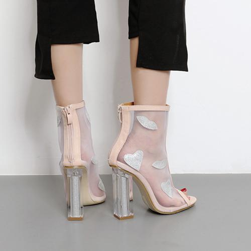 Moda punteada Peep Toe See-Through Chunky Super High Heel Albaricoque Net Yarn Sandalias