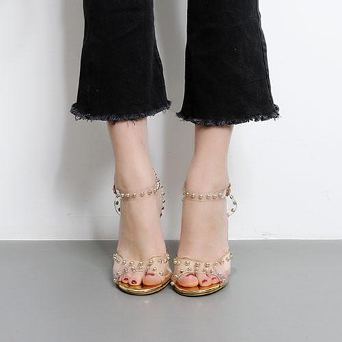 Plastic Stiletto Super alta moda tornozeleira Sandálias