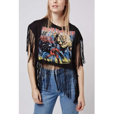 Pullovers Polyester O Neck Short Sleeve Print T-shirt