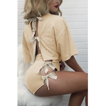 Beige Cotton Shorts Solid O neck Short Sleeve Sexy Two Pieces