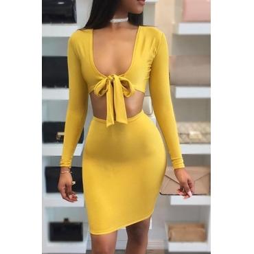 Latte sexy fibra V maniche lunghe in guaina Mini vestiti