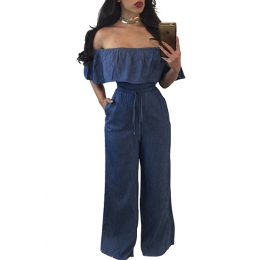 Charming Bateau Neck Falbala Design Blue Denim One-piece Jumpsuits