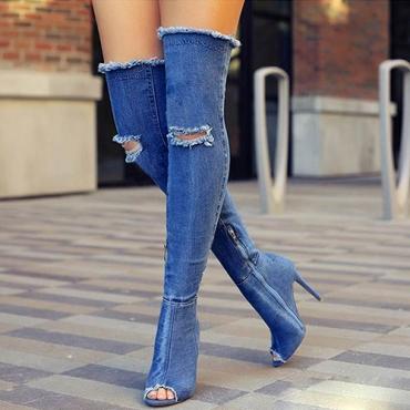 Elegante punta redonda Hollow-out Stiletto Super High Heel Tejido Denim azul sobre las botas de rodilla