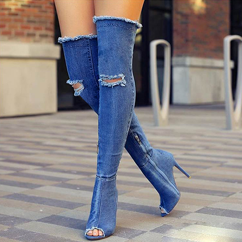 Stylish Round Toe Hollow-out Stiletto Super High Heel Blue Denim Fabric Over The Knee Boots