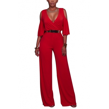 Stylish V Neck Half Sleeves Hollow-out Red Polyester One-piece Loose Jumpsuits(Without Belt)