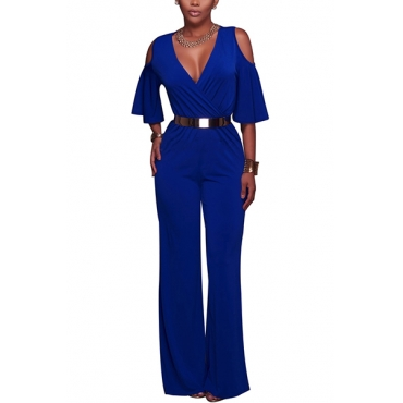 Stylish V Neck Half Sleeves Hollow-out Blue Polyester One-piece Loose Jumpsuits(Without Belt)