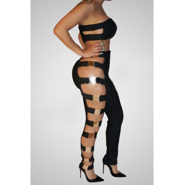 Sexy Hollow-out Black Healthy Fabric Two-piece Pants Set