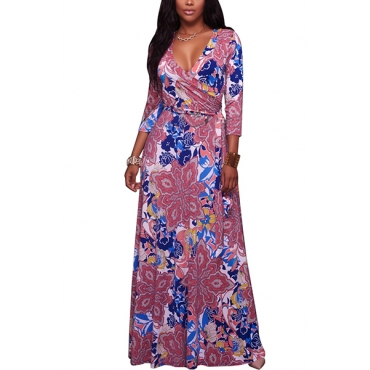 Euramerican V Neck Three Quarter Sleeves Floral Print Pink Healthy Fabric Floor Length Dress