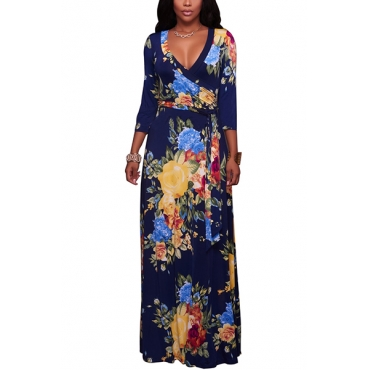 Euramerican V Neck Three Quarter Sleeves Floral Print Navy Blue Healthy Fabric Floor Length Dress