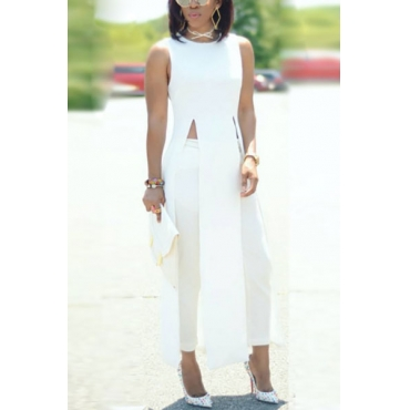 Leisure Round Neck Sleeveless High Split White Qmilch Shirts