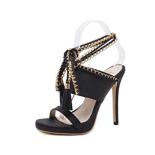 Модные точки Peep Toe Chain Декоративные Stiletto супер высокой пятки черный PU лодыжки ремешок сандалии
