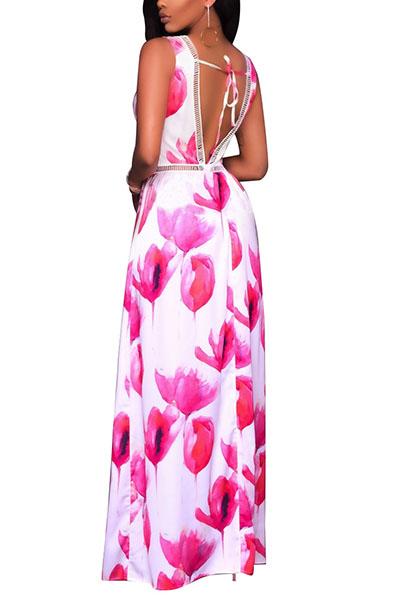 Очаровательная V шея с цветочным принтом с высоким красным цветом Qmilch One-piece Skinny Jumpsuits