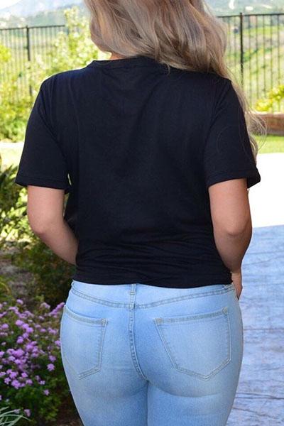 Сексуальная глубокая V Шея с короткими рукавами полые из черного полиэстера футболку