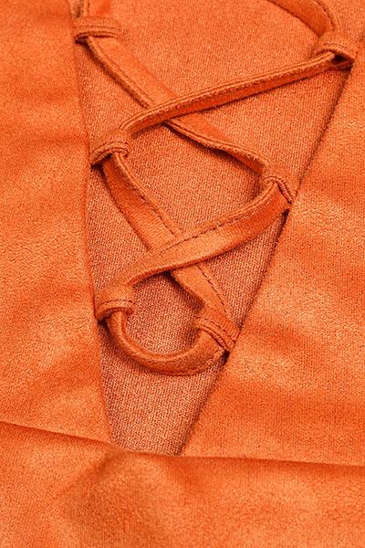 Досуг V Шея с короткими рукавами Lace-Up подол-из Коричневый полиэстер футболку