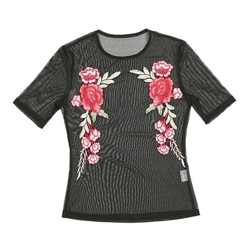 Сексуальная круглая футболка с коротким рукавом из шелка с черным полиэстером
