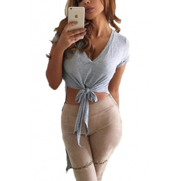 Leisure V Neck Short Sleeves Asymmetrical Grey Cotton T-shirt