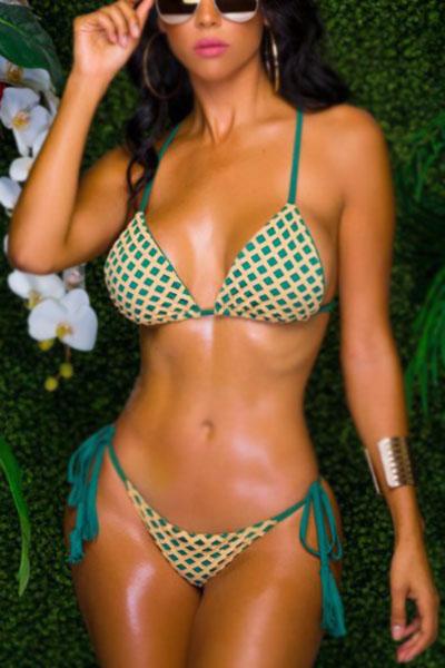 Сексуальные кружевные безрукавки из зеленого полиэстера из двух частей купального костюма