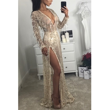 Sexy V Neck Long Sleeves Sequined Decorative Gold Lace Floor Length Dress