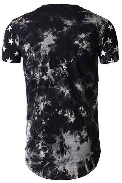Lazer Rodada pescoço mangas curtas de cinco pontas estrela impressão de algodão cinza-branco misturas T-shirt