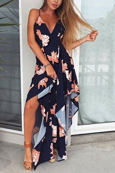 Euramerican V Neck Sleeveless Printed Asymmetrical Navy Blue Polyester Ankle Length Dress
