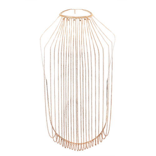 Moda de borla de diseño ahuecar-hacia fuera la cadena del cuerpo del metal del oro