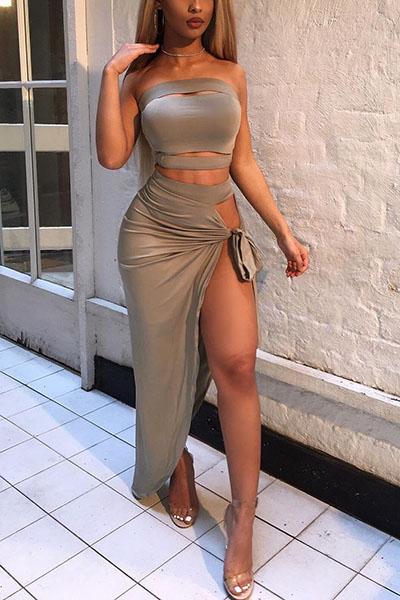 Sexy Bateau cuello sin mangas asimétrico gris Qmilch conjunto de falda de dos piezas