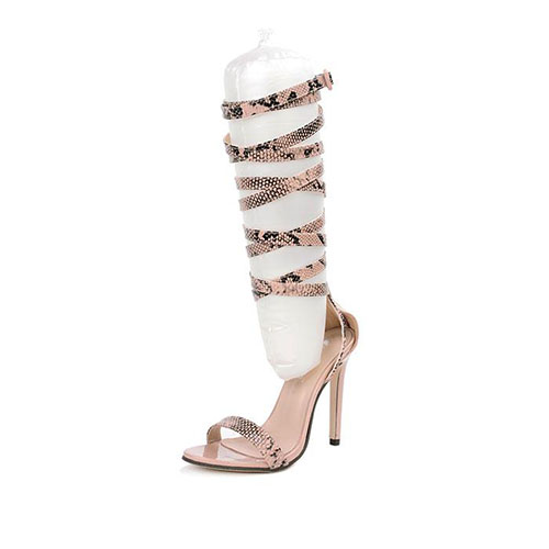 Trendy Point Toe Hollow-out Super High Heel PU Gladiator Sandals