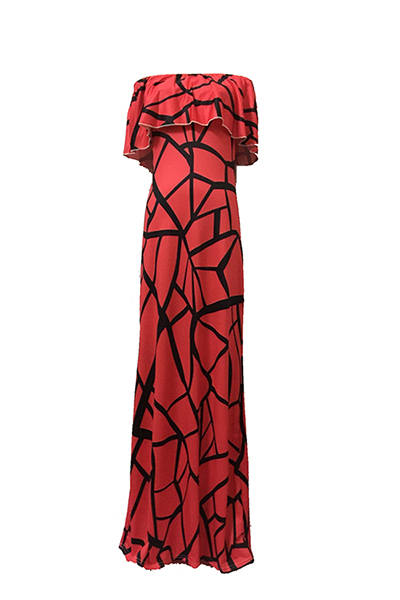 Charmante Bateau Hals Kurzarm Falbala Design Red Milch Faser Mantel Knöchel Länge Kleid