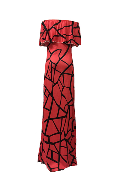 Очаровательная шею Bateau с короткими рукавами Дизайн Falbala Red Milk Fibre Оболочка длиной до лодыжки платье