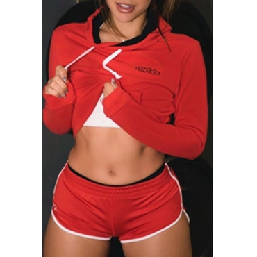 Casual Long Sleeves Patchwork Red Cotton Two-piece Shorts Set
