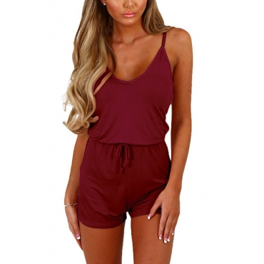 Sexy V Neck Spaghetti Strap Sleeveless Wine Red Qmilch One-piece Jumpsuits