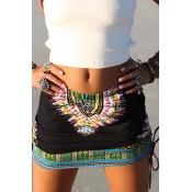 Ethnic Style Elastic Waist Printed Black Cotton Blend Mini Skirts