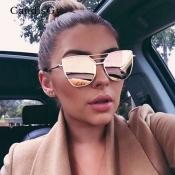 Euramerican Hollow-out Pink Metal Sunglasses