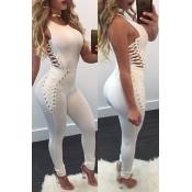 Stylish Round Neck Sleeveless Hollow-out White Cotton Blends One-piece Skinny Jumpsuits