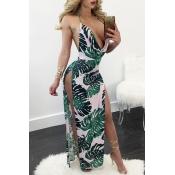 Sexy Deep V cuello sin mangas de espalda blanco-verde leche de fibra de vaina tobillo vestido de longitud