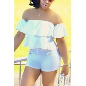 Sexy Bateau Neck Short Sleeves Falbala Design White Polyester Two-piece Pants Set