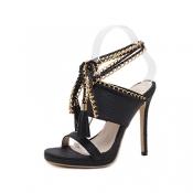 Модный стиль Peep Toe Chain Декоративный стилет Su