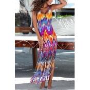 Euramerican Round Neck Sleeveless Flame Printed Milk Fiber Sheath Ankle Length Dress