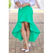 Elegante cintura alta assimétrica verde mistura Ank