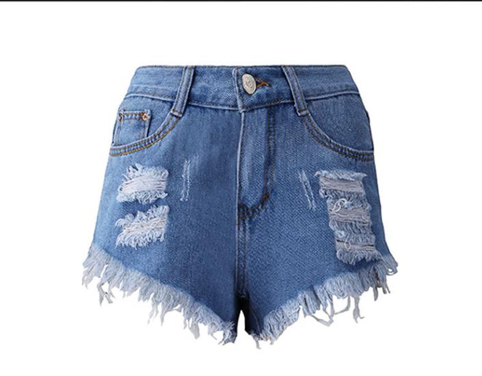 Tassel Euramerican High Waist Broken Holes Asymmetrical Blue Cotton Blends Shorts
