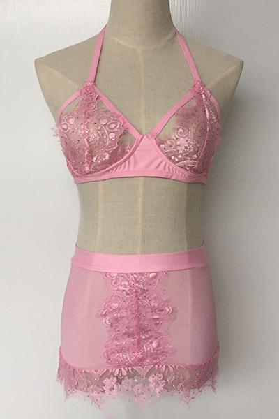 сексуальное Euramerican спагетти ремень рукавов горный хрусталь декоративные розовые кружева из двух частей юбка юбка setpink кружева твердые сексуальные две части