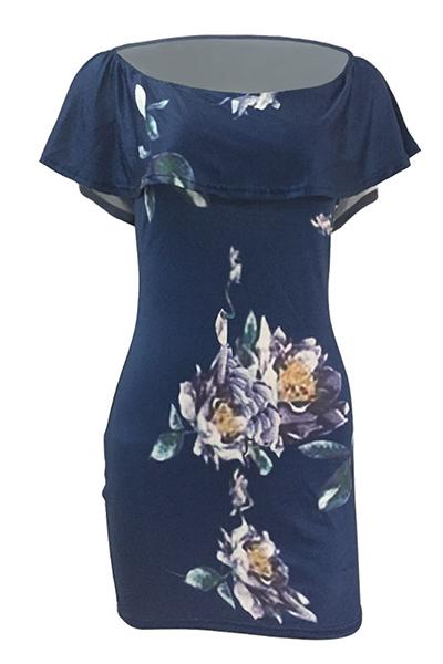 El cortocircuito atractivo del cuello del barco envuelve el mini vestido azul de la envoltura del qmilch de la impresión floral