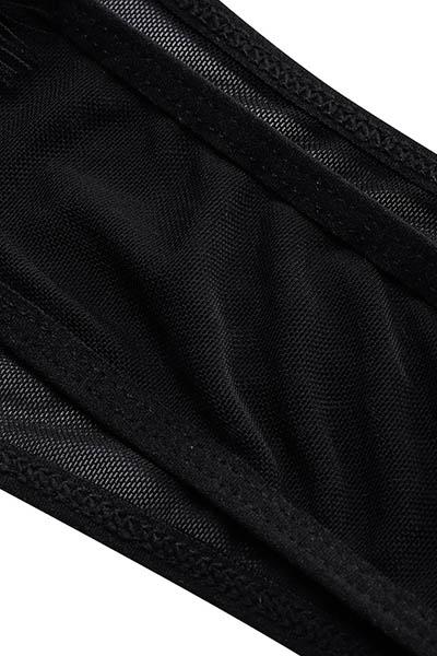 Sexy manga larga de cuello en V manga larga ver-a través de encaje negro de una pieza de mono flaco