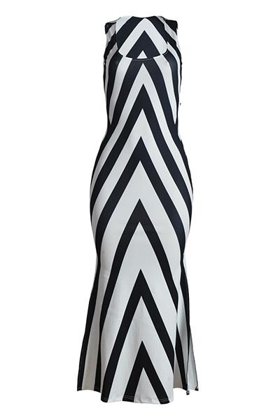 Twilled Satin Fashion U Neck Sleeveless Sheath Ankle Length Dresses